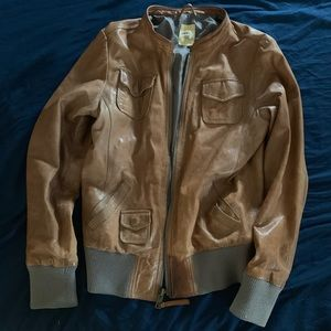 Vintage Fossil Leather Bomber Jacket